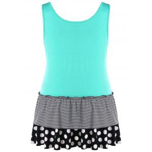 Plus Size Sleeveless Polka Dot Panel Tunic Top -