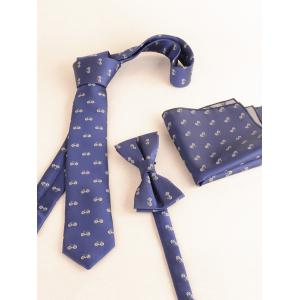 Bicycle Pattern Business Shirt Tie Bow Tie and Handkerchief -