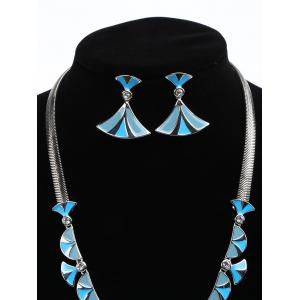 Alloy Fan Shaped Faux Diamond Inlaid Pendant Necklace and Drop Earrings -