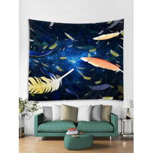 Feathers in the Starry Sky Printed Wall Art Tapestry -