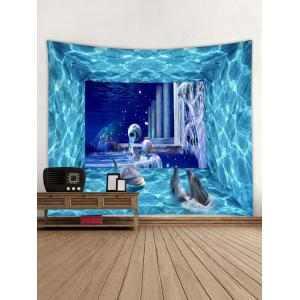 Wall Hanging Art Dolphin 3D Underwater Print Tapestry -