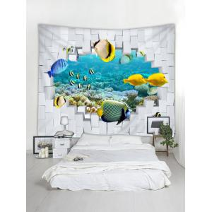 Wall Hanging Art 3D Underwater Fishes Print Tapestry -