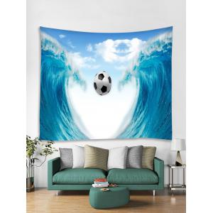 Wall Hanging Art Sea Wave Soccer Print Tapestry -
