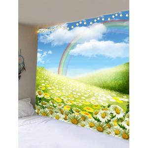 Rainbow Sunflower Clouds Sky Print Wall Art Tapestry -