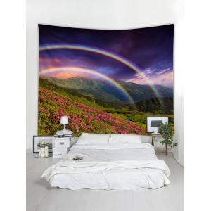 Mountain Flowers Lawn Rainbows Printed Wall Art Tapestry -