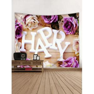 HAPPY Floral Pattern Wall Decor Hanging Tapestry -