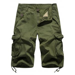 Drawstring Design Zipper Fly Cargo Shorts avec poches -
