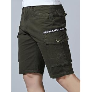 Zip Fly Letter Print Flap Pockets Cargo Shorts -
