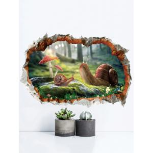 Snails Pattern 3D Broken Wall Sticker for Bedroom -