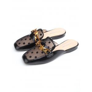 Flat Heel Star Lace Spot Print Mules Shoes -