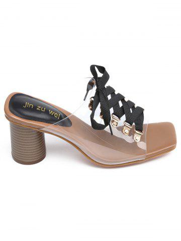 Fancy Block Heel Clear Strap Casual Slide Sandals
