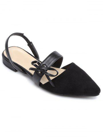 Chic Bow Point Toe Slingbacks Flat Shoes