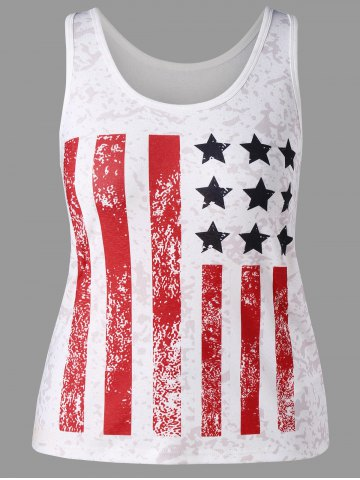 Discount Plus Size Striped American Flag Tank Top