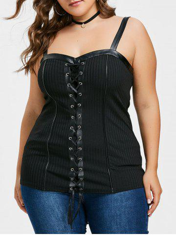 Fancy Plus Size Ribbed Lace Up Tank Top