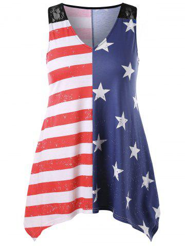 American Flag Print Plus Size Asymmetric Tank Top