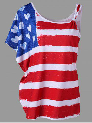 Chic One Shoulder Butterfly Sleeve American Flag Print Tee