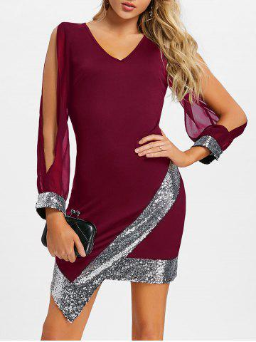 Store Sequin Trimmed Slit Sleeve Chiffon Party Dress