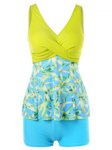 Fashion Plant Print Empire Waist Tankini