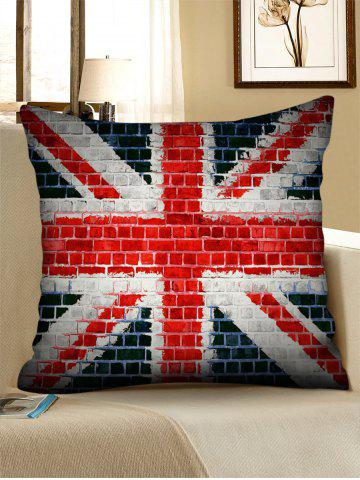 Latest Union Jack Brick Wall Print Decorative Linen Sofa Pillowcase