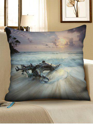 New Sea Wave Print Decorative Linen Sofa Pillowcase