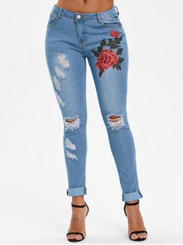 Cheap Flower Embroidered Skinny Ripped Jeans
