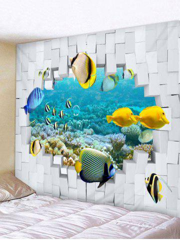 Unique Wall Hanging Art 3D Underwater Fishes Print Tapestry