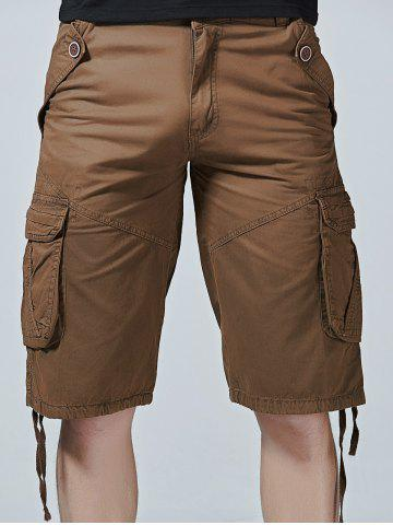 Fancy Drawstring Design Zipper Fly Cargo Shorts with Pockets