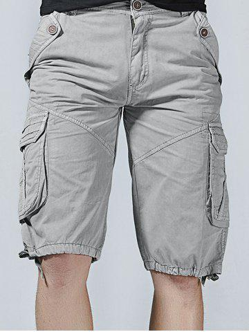 Unique Drawstring Design Zipper Fly Cargo Shorts with Pockets