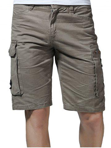 Affordable Flap Pockets Letter Applique Zipper Fly Cargo Shorts