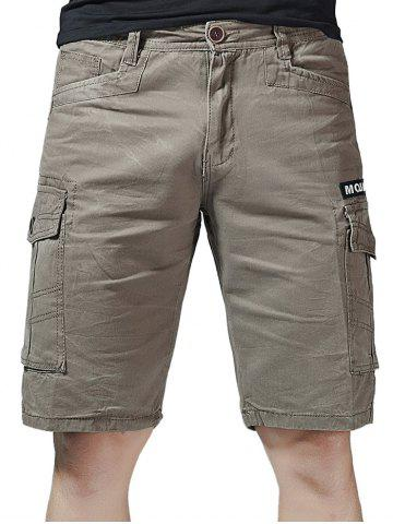 Store Zip Fly Letter Print Flap Pockets Cargo Shorts