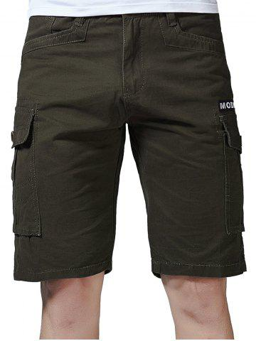 Shops Zip Fly Letter Print Flap Pockets Cargo Shorts