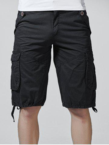 Chic Drawstring Design Zipper Fly Cargo Shorts with Pockets