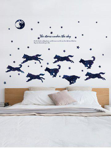 Online Wolves and Stars Theme Wall Sticker for Bedroom