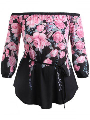 Affordable Floral Print Plus Size Off Shoulder Blouse