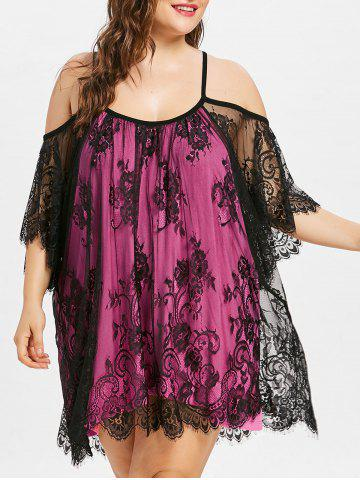 Store Plus Size Bell Sleeve Lace Cover Up
