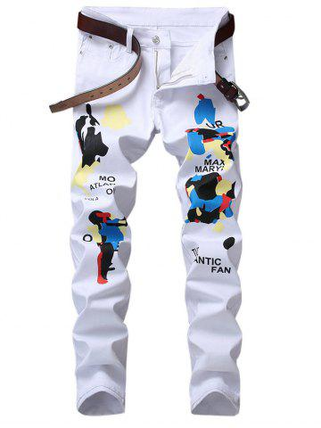 Outfit Slim Fit Letter Graphic Print Jeans