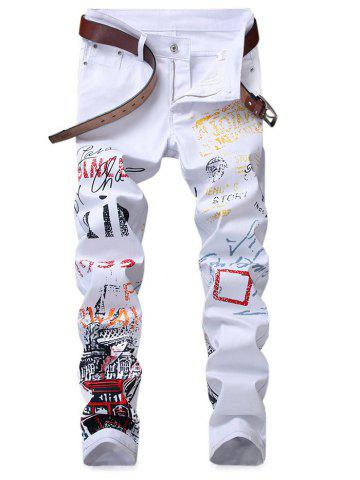 Outfits Slim Fit Letter Geometric Figure Jeans