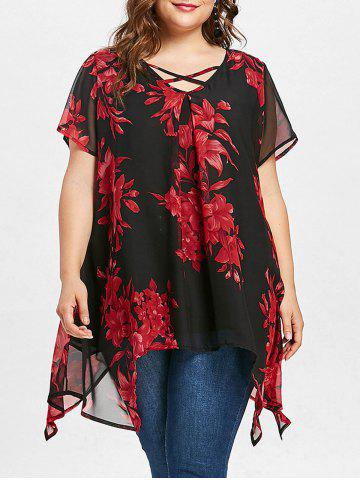 Shops Floral Print Plus Size Short Sleeve Blouse