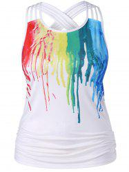 Plus Size Ruched Paint Drip Tank Top -