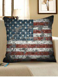 US Flag Brick Wall Pattern Decorative Linen Sofa Pillowcase -