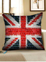Union Jack Brick Wall Print Decorative Linen Sofa Pillowcase -