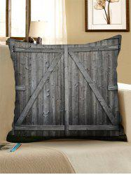 Wooden Double Door Print Decorative Linen Sofa Pillowcase -