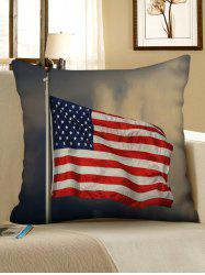 Flying American Flag Print Decorative Linen Sofa Pillowcase -
