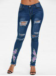 Floral Embroidered Ripped Jeans -