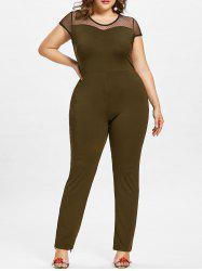 Cap Sleeve Plus Size Mesh Panel Jumpsuit -