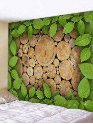 Wood Leaves Printed Wall Decor Tapestry -