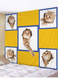 Wall Art Cute Naughty Cat Printed Tapestry -