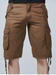Drawstring Design Zipper Fly Cargo Shorts with Pockets -