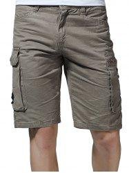 Flap Pockets Letter Applique Zipper Fly Cargo Shorts -