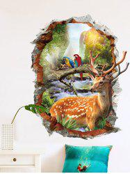 Mountains Deer Pattern 3D Broken Wall Sticker for Bedroom -